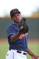 Emmanuel Tapia #25 of the AZL Indians during a game against the AZL Angels at the Cleveland Indians Spring Training Complex on July 13, 2014 in Goodyear, Arizona. AZL Angels defeated the AZL Indians, 6-5. (Larry Goren/Four Seam Images)