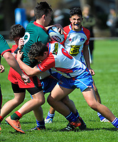 Action from the 2017 Hurricanes Youth Council Under-16 Tournament match between Horowhenua Kapiti and Wairarapa Bush at Wanganui Collegiate in Wanganui, New Zealand on Tuesday, 3 October 2017. Photo: Dave Lintott / lintottphoto.co.nz