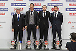 Atletico de Madrid´s President Enrique Cerezo (L), coach Simeone (R), Real Madrid´s Cristiano Ronaldo (2L) and Mateu Lahoz pose during the MARCA Football Awards ceremony in Madrid, Spain. November 10, 2014. (ALTERPHOTOS/Victor Blanco)