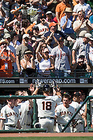 12 April 2008: Teammates and spectators welcome #18 Matt Cain of the San Francisco Giants to the dugout after he hits an homerun to left in the 6th inning during the St. Louis Cardinals 8-7 victory over the San Francisco Giants at the AT&T Park in San Francisco, CA.