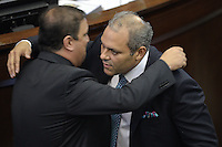 BOGOTA -COLOMBIA. 20-07-2014. José David Name (Der) es felicitado tras ser elegido como presidente del Senado durante la primera plenaria del Senado después de la instalación del Congreso de la República de Colombia por parte del presidente, Juan Manuel Santos en el Salón Elíptico del Capitolio Nacional./ Jose David Name (R) is congratulated after being elected as president of the Senate during the first Senate plenary after the installation of the Congress of the Republic of Colombia by the president, Juan Manuel Santosat Salon Eliptico in the National Capitol. Photo: VizzorImage/ Gabriel Aponte / Staff