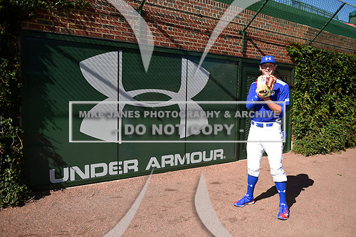 Cole Wilcox (11) of Heritage High School in Chickamauga, Georgia during the Under Armour All-American Game presented by Baseball Factory on July 29, 2017 at Wrigley Field in Chicago, Illinois.  (Mike Janes/Four Seam Images)
