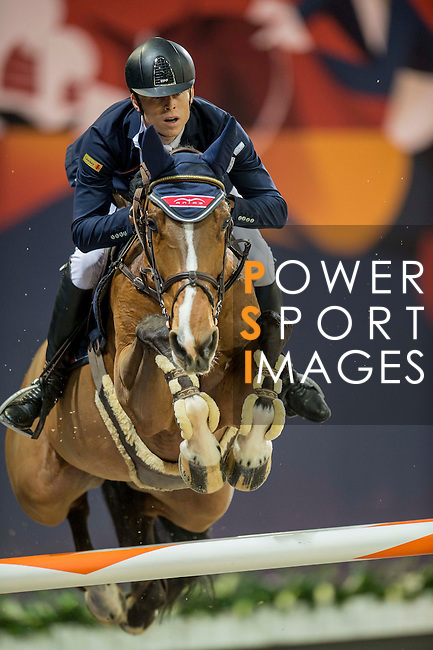 Max Kuhner of Austria riding Electric Touch during the Hong Kong Jockey Club Trophy competition, part of the Longines Masters of Hong Kong on 10 February 2017 at the Asia World Expo in Hong Kong, China. Photo by Marcio Rodrigo Machado / Power Sport Images