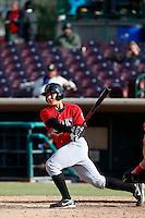 Steve Baron #8 of the High Desert Mavericks bats against the Inland Empire 66'ers at San Manuel Stadium on April 8, 2013 in San Bernardino, California. Inland Empire defeated High Desert, 6-2. (Larry Goren/Four Seam Images)