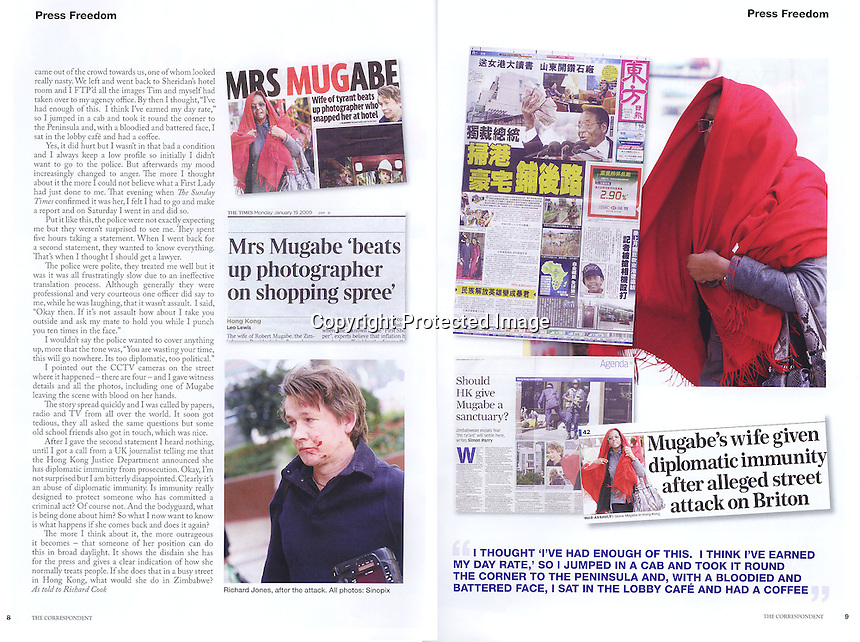 The Foreign Corespondent Magazine, Hong Kong, 2009, showing the incident where Grace Mugabe attacked photographer Richard Jones. ©sinopix