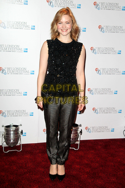 Holliday Grainger.Attending a photocall for 'Great Expectations' during the 56th BFI London Film Festival at Empire Leicester Square, London, England, UK, .October 21st 2012..full length patterned grey gray checked trousers shoes clutch bag  black flowers beaded sleeveless .CAP/JEZ  .©Jez/Capital Pictures.
