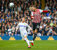 Brentford's Henrik Dalsgaard beats Leeds United's Ezgjan&nbsp;Alioski to a pass<br /> <br /> Photographer Alex Dodd/CameraSport<br /> <br /> The EFL Sky Bet Championship - Leeds United v Brentford - Saturday 6th October 2018 - Elland Road - Leeds<br /> <br /> World Copyright &copy; 2018 CameraSport. All rights reserved. 43 Linden Ave. Countesthorpe. Leicester. England. LE8 5PG - Tel: +44 (0) 116 277 4147 - admin@camerasport.com - www.camerasport.com