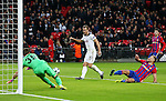 Tottenham's Harry Kane scoring his sides second goal during the Champions League group match at Wembley Stadium, London. Picture date December 7th, 2016 Pic David Klein/Sportimage