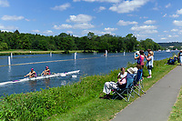 "Henley on Thames, United Kingdom, 22nd June 2018, Friday,   ""Henley Women's Regatta"",  General view,  Competitors, Rowing-Sculling, Training, Henley Reach, Thames Valley,  River Thames, England, © Peter SPURRIER"
