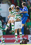 St Johnstone v Celtic..30.10.10  .Joe Ledley and Niall McGinn beat Chris Millar to the ball.Picture by Graeme Hart..Copyright Perthshire Picture Agency.Tel: 01738 623350  Mobile: 07990 594431