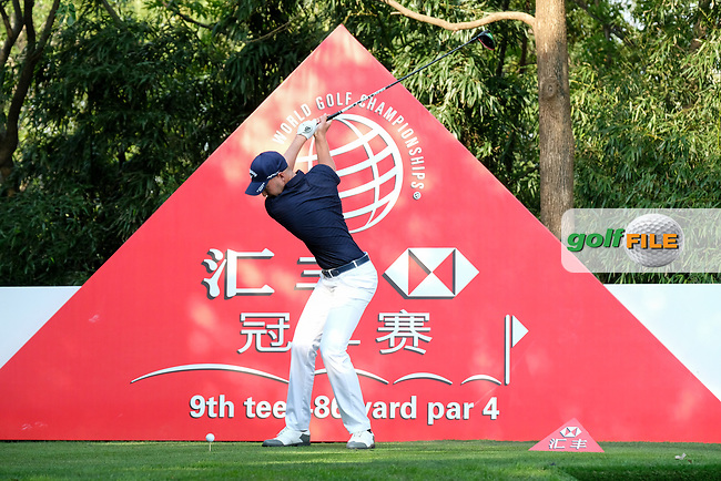 Daniel Berger (USA) on the 9th tee during round 1 of the 2017 WGC HSBC Champions, Sheshan International Golf Club, Shanghai, China PR. 26/10/2017<br /> Picture: Golffile | Fran Caffrey<br /> <br /> <br /> All photo usage must carry mandatory copyright credit (&copy; Golffile | Fran Caffrey)