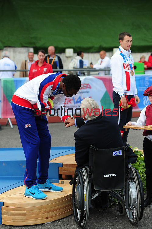 IPC European Athletics Championship 2014<br /> Swansea University<br /> <br /> Medal ceremony: Men's 100m T47.<br /> <br /> 21.08.14<br /> Chris Vaughan-SPORTINGWALES