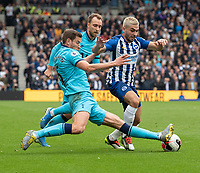 Brighton & Hove Albion's Neal Maupay (right) is tackled by Tottenham Hotspur's Jan Vertonghen (left)<br /> <br /> Photographer David Horton/CameraSport<br /> <br /> The Premier League - Brighton and Hove Albion v Tottenham Hotspur - Saturday 5th October 2019 - The Amex Stadium - Brighton<br /> <br /> World Copyright © 2019 CameraSport. All rights reserved. 43 Linden Ave. Countesthorpe. Leicester. England. LE8 5PG - Tel: +44 (0) 116 277 4147 - admin@camerasport.com - www.camerasport.com