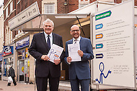 Pictured at the Better Care Together mobile engagement unit are Professor Mayur Lakhani, chair of West Leicestershire CCG (left) and David Grant, Project Manager, Rick Moore, chair of Leicestershire HealthWatch