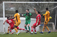 George Saunders of Hornchurch (out of shot) scores the first goal for his team from a corner during Hornchurch vs Merstham, BetVictor League Premier Division Football at Hornchurch Stadium on 15th February 2020