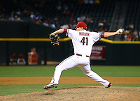 Jun 2, 2015; Phoenix, AZ, USA; Arizona Diamondbacks pitcher Daniel Hudson against the Atlanta Braves at Chase Field. Mandatory Credit: Mark J. Rebilas-USA TODAY Sports