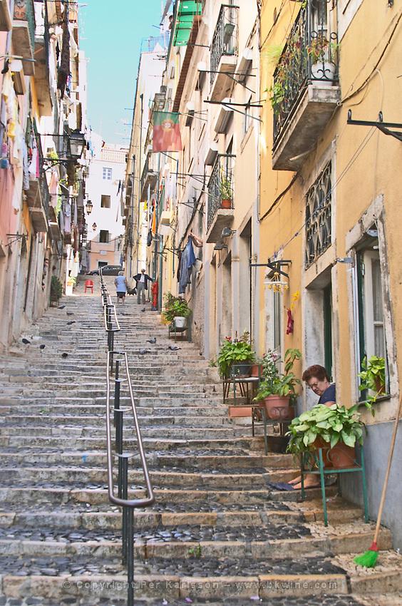 steep steps, calcada da bica grande bairro alto lisbon portugal
