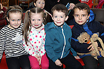 Cara, Megan, Jay and Luke Heaney with Luke Sheehy at Storytime in Drogheda Library as part of World Book Day....Photo NEWSFILE/Jenny Matthews.