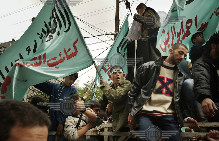 A Hamas show of strength at a funeral in Khan Yunis on the Gaza Strip.