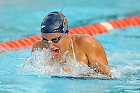 15 October 2010:  FIU's Kristine Metka competes in the 100 yard breaststroke during the meet between the FIU Golden Panthers and the University of Miami Hurricanes at the Norman Whitten Student Union Pool in Coral Gables, Florida.