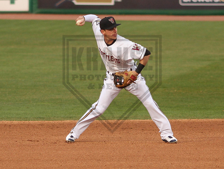 Milwaukee Brewers second baseman Scooter Gennett (20) during a rehab appearance with the Wisconsin Timber Rattlers against the Cedar Rapids Kernels on May 4th, 2015 at Fox Cities Stadium in Appleton, Wisconsin.  Cedar Rapids defeated Wisconsin 9-3.  (Brad Krause/Krause Sports Photography)