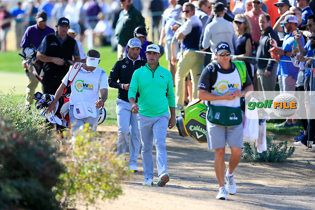 Gary Woodland (USA) Hideki Matsuyama (JPN) make there way to the 5th tee during the 2nd round of the Waste Management Phoenix Open, TPC Scottsdale, Scottsdale, Arisona, USA. 01/02/2019.<br /> Picture Fran Caffrey / Golffile.ie<br /> <br /> All photo usage must carry mandatory copyright credit (© Golffile | Fran Caffrey)
