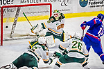 19 January 2018: University of Vermont Catamount Goaltender Stefanos Lekkas, a Sophomore from Elburn, IL, gives up a third period goal to University of Massachusetts Lowell Riverhawks Forward Charlie Levesque, a Freshman from Russell, Ontario, at Gutterson Fieldhouse in Burlington, Vermont. The Riverhawks rallied to defeat the Catamounts 3-2 in overtime of their Hockey East matchup. Mandatory Credit: Ed Wolfstein Photo *** RAW (NEF) Image File Available ***