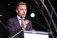 Ronan Keating speaks to the crowd at the evening event of  the Graham Wylie Foundation- Have A Heart- golf day with Lee Westwood and Ronan Keating at Close House Golf Club, Heddon on the wall, England on 10 September 2018. Photo by Thomas Gadd.