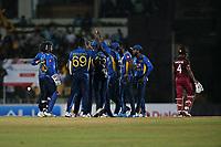February 26th 2020,the Mahinda Rajapaksha International Stadium, Hambantota, Sri Lanka; One Day International cricket, Sri Lanka versus West Indies; Srilanka celebrate the wicket of Shai Hope