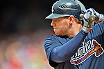 22 July 2012: Atlanta Braves first baseman Freddie Freeman in action against the Washington Nationals at Nationals Park in Washington, DC. The Braves fell to the Nationals 9-2 splitting their 4-game weekend series. Mandatory Credit: Ed Wolfstein Photo