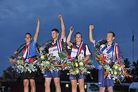 FIERLJEPPEN: POLSBROEKERDAM: 24-08-2013, NK Fierljeppen, Kampioenen Rian Baas (junioren), Thewis Hobma ( Heren), Hiliannne van der Wal (dames), Bobby Zwaagman (jongens), ©foto Martin de Jong