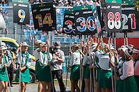March 20, 2016: The grid girls prepare for the start of the 2016 Australian Formula One Grand Prix at Albert Park, Melbourne, Australia. Photo Sydney Low