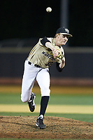 Wake Forest Demon Deacons relief pitcher William Fleming (38) delivers a pitch to the plate against the Liberty Flames at David F. Couch Ballpark on April 25, 2018 in  Winston-Salem, North Carolina.  The Demon Deacons defeated the Flames 8-7.  (Brian Westerholt/Four Seam Images)