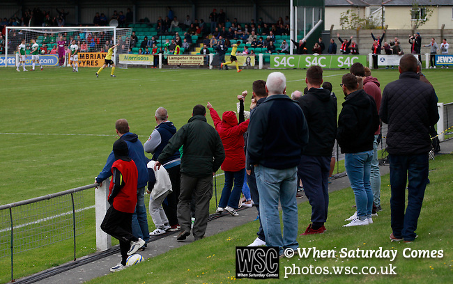 Aberystwyth Town 1 Newtown 2, 17/05/2015. Park Avenue, Europa League Play Off final. Newtown fans celebrate their teams second goal, scored by Matthew Hearsey. Aberystwyth finished 14 points above Newtown in the Welsh Premier League, but were beaten 1-2 in the Play Off Final. Photo by Paul Thompson.