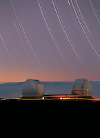 Star trails over the Keck Telescopes, Mauna Kea Observatory, Hawaii.