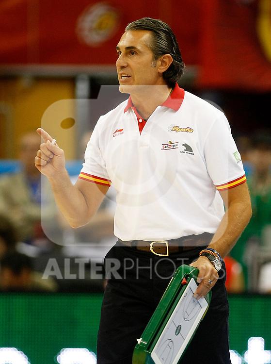 Spain's coach Sergio Scariolo during Friendly match.August, 17, 2010. (ALTERPHOTOS/Acero)