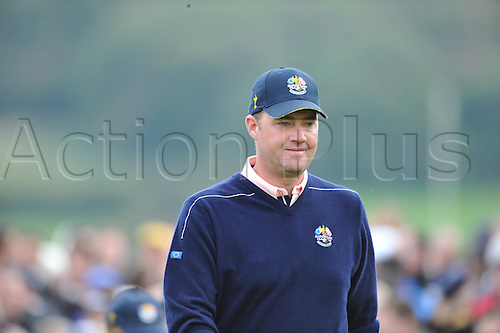 30.09.2010 Peter Hanson (SWE) of Europe  in action during practice at the Ryder Cup 2010 course, Celtic Manor resort, Newport, Wales on the third practice day of  the Ryder Cup 2010 between Europe v USA