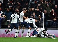 30th November 2019; Tottenham Hotspur Stadium, London, England; English Premier League Football, Tottenham Hotspur versus AFC Bournemouth; Moussa Sissoko of Tottenham Hotspur celebrates with his team on scoring in 66th minute 3-0 - Strictly Editorial Use Only. No use with unauthorized audio, video, data, fixture lists, club/league logos or 'live' services. Online in-match use limited to 120 images, no video emulation. No use in betting, games or single club/league/player publications