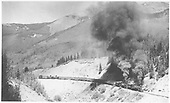 RGS double-headed freight with locomotives #40 &amp; #42 approaching curve to Trout Lake.<br /> RGS  Matterhorn to Trout Lake, CO  Taken by Jackson, Richard B. - 7/7/1939
