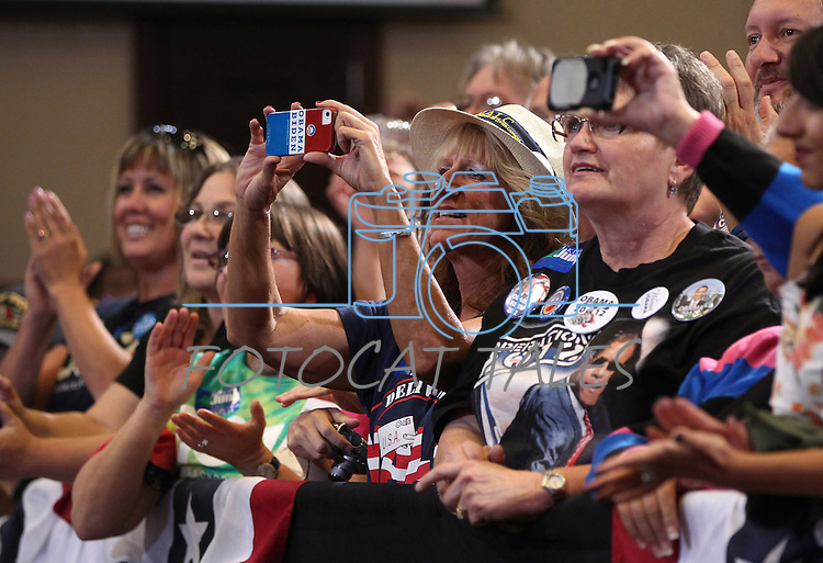 A crowd of about 500 attended Vice President Joe Biden's campaign stop in Reno, Nev., on Wednesday, Oct. 17, 2012. (AP Photo/Cathleen Allison)