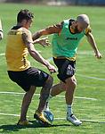 Getafe's Jaime Mata (l) and David Timor during training session. May 19,2020.(ALTERPHOTOS/Acero)