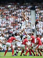 Charlie Ewels of England rises high to win lineout ball. Quilter International match between England and Wales on August 11, 2019 at Twickenham Stadium in London, England. Photo by: Patrick Khachfe / Onside Images