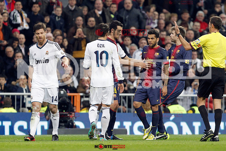 Real Madrid v Barcelona during King's Cup match, in the pic: Daniel Alves and Mesut Özil. January 30, 2013. (ALTERPHOTOS/Caro Marin)