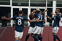 FOXBOROUGH, MA - JULY 27:  Revolution players celebrate their goal at Gillette Stadium on July 27, 2019 in Foxborough, Massachusetts.