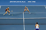 Ying-Ying Duan (L) and Xinyun Han (R) of China in action during the doubles Round Robin match of the WTA Elite Trophy Zhuhai 2017 against Chen Liang and Zhaoxuan Yang of China at Hengqin Tennis Center on November  04, 2017 in Zhuhai, China. Photo by Yu Chun Christopher Wong / Power Sport Images