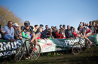Sven Nys (BEL/Crelan-AAdrinks) leading Klaas Vantornout (BEL/Sunweb-Napoleon Games) down the always slippery Koppenberg<br /> <br /> Koppenbergcross 2014