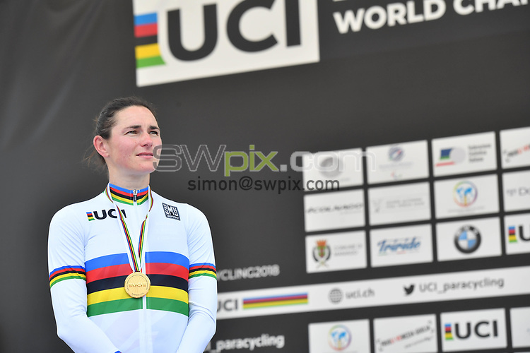 Picture by Simon Wilkinson/SWpix.com 05/08/2018 - Cycling -  UCI 2018 Para-Cycling Road World Championships, MANIAGO, ITALY - Day 4 Road Races<br /> -  Men Podiums Rainbow Jersey Stripes
