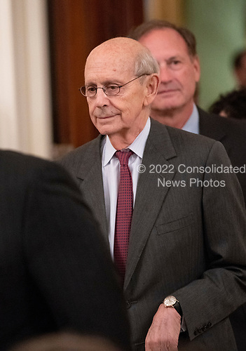 Associate Justice of the Supreme Court Stephen G. Breyer arrives for the ceremonial swearing-in ceremony for Associate Justice of the US Supreme Court Brett Kavanaugh hosted by United States President Donald J. Trump in the East Room of the White House in Washington, DC on Monday, October 8, 2018.  Kavanaugh formally took the oath on Saturday, hours after he was confirmed by the US Senate.  <br /> Credit: Ron Sachs / CNP<br /> (RESTRICTION: NO New York or New Jersey Newspapers or newspapers within a 75 mile radius of New York City)