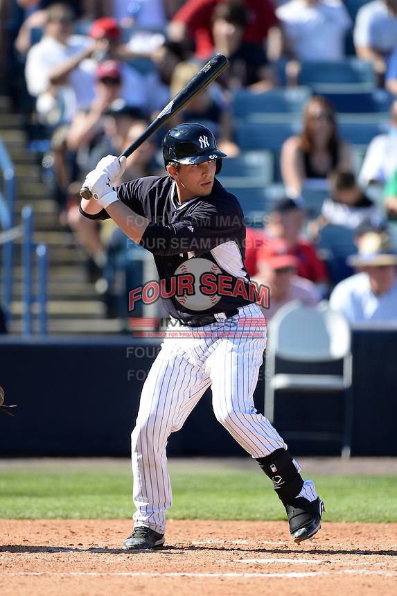 Catcher JR Murphy (66) of the New York Yankees during a spring training game against the Philadelphia Phillies on March 1, 2014 at Steinbrenner Field in Tampa, Florida.  New York defeated Philadelphia 4-0.  (Mike Janes/Four Seam Images)