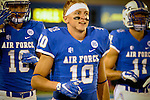 September 12, 2015 - Colorado Springs, Colorado, U.S. - Air Force wide receiver, Cody Apfel #10, prior to Mountain West Conference action between the San Jose State Spartans and the Air Force Academy Falcons at Falcon Stadium, U.S. Air Force Academy, Colorado Springs, Colorado.  Air Force defeats San Jose State 37-16.